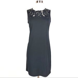 KARL LAGERFELD sheath dress black floral lace yoke